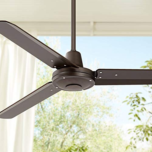 52' Plaza Industrial Outdoor Ceiling Fan with Remote Control Oil Rubbed Bronze Damp Rated for Patio Porch - Casa Vieja