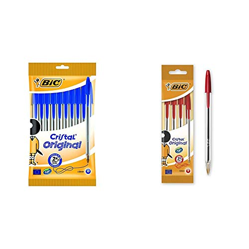 Bic Cristal Original Penne A Sfera Punta Media (1,0 Mm),Blu, Pacco Da 10 & Cristal Original Punta Media 1 Mm Confezione 4 Penne Colore Rosso
