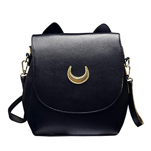 Oweisong Damen Moon Sailor Geldbörsen und Handtaschen Cute Cat Anime Rucksack Mode Funkelnde Satchel Tote Schultertasche, Schwarz (schwarz), Einheitsgröße
