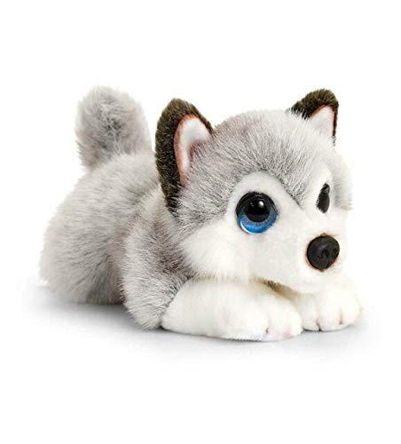 Keel Toys SD2520 - Cachorro de Peluche (32 cm), Color Gris y Blanco