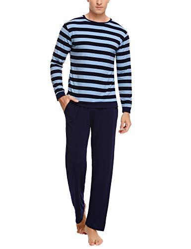 Aibrou Herren Schlafanzug Gestreift Zweiteiliger Lang Pyjama Set Baumwolle Nachtwäsche Langarm Rundhals Hausanzug (L, C-Navyblau)