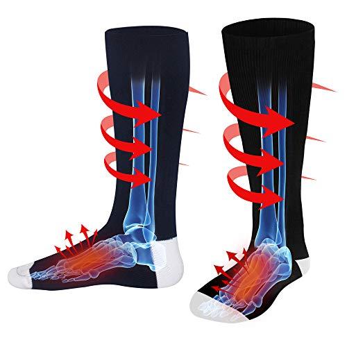 Men Women Rechargeable Electric Heated Socks Battery Heat Thermal Sox,Sports Outdoor Winter Novelty Warm Heating Sock,Climbing Hiking Skiing Foot Boot Heater Warmer(Black/Grey/Navy,L) (Navy, M)