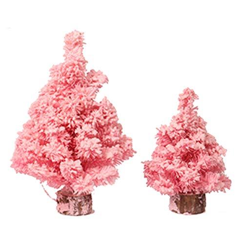 KU Syang 2 Pcs Simulation Pink Encryption Flocking Christmas Tree Christmas Decorations Gift Medium & Small