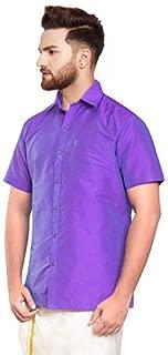 SJS-Men's Half Sleeve Solid Art Silk Shirt (Lavender, 36)