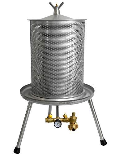 Fischer Hydropresse FP-INOX: 100% Edelstahl Obstpresse 40L, Apfelpresse, Maischepresse, Weinpresse, Kelter (40 Liter)
