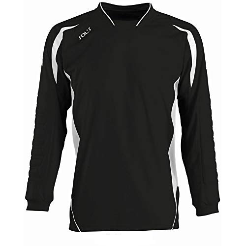SOLS - Camiseta de Portero/fútbol Transpirable de Manga Larga para Hombre - Modelo Azteca (L/XL) (Blanco/Negro)