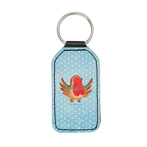 Mr. & Mrs. Panda Glücksbringer, Schlüsselband, Rechteckig Schlüsselanhänger Rotkehlchen Weihnachten - Farbe Eisblau