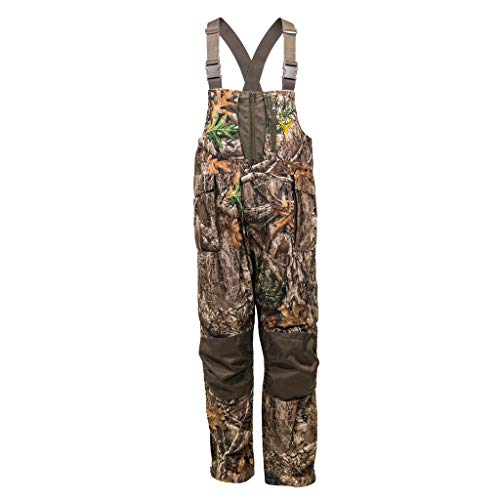 HOT SHOT Men's Elite Camo Hunting Bib, Realtree Edge Camo, Waterproof, Insulated, Designed for All Day use, Extra Large