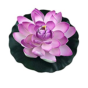 Dohuge 4 Pack Large Artificial Floating Lotus Flowers Foam Floating Flowers Set for Home Garden Pond Pools Aquarium Tank Wedding Party Decorations- Purple