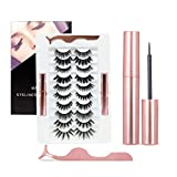 10 Pairs Magnetic Eyelashes With Eyeliner, Magnetic Lashes And 2 Tubes Of Magnetic Eyeliner Kit With Tweezers Inside, Magnetic Eyelashes Natural Look No Glue Needed Reusable Easy To Apply