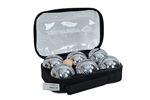 Schildköt Boule, Boccia, Petanque Set, 2x 3 Stahlkugeln, 1x Zielkugel inkl. Abstandsmesser, in wiederverschließbarer Tragetasche, 970011