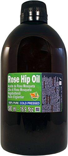 Aceite de Rosa Mosqueta 100% Puro. Botella Extra Grande de 500 ml (Medio Litro) Origen Chile - Virgen Extra, Natural, Producto Sustentable.