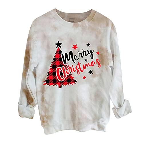 MEIPIQI Sudadera para mujer de Navidad de manga larga con estampado de manga larga para mujer, cuello redondo, elegante, suelta, blusa, tops para adolescentes
