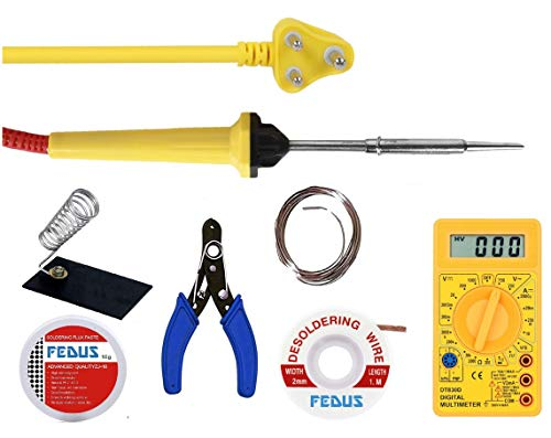 FEDUS 7 in 1 Electric Soldering Iron Stand Tool Wire Stripper Kit Soldering Kit Set with 25W Welding Stick Digital Mulimeter Desoldering | WIK Stand |Flux | Wire Stripper | Solder Wire for DIY/Craft