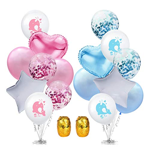 Amosfun Latex ballonnen schattig Narwhal hart ster Confetti helium ballonnen met lint voor kinderen verjaardag partij benodigdheden (gesorteerde kleur)