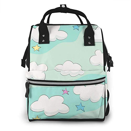 NHJYU Sac à langer, Large Capacity Waterproof Travel Ma-na-ger,baby Care Replacement Bag Versatile Stylish And Durable, Suitable For Mom And Dad,The Clouds In The Sky Are Another Piece
