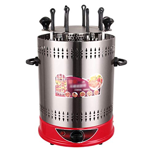NO BRAND Asador de Vertical Giratorio, Parrilla de Barbacoa Eléctrica Inteligente Máquina de Kebab Giratoria Automática Sin Humo Encimera de Acero Inoxidable Kabob Grill, 1400W - 6/8/10 Cuerdas