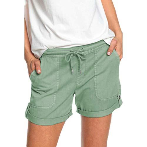 Pantalones Cortos Deportivos Casuales de Color sólido de Verano para Mujer Pantalones Cortos con Cintura con cordón para Correr Fitness Ropa Diaria X-Large