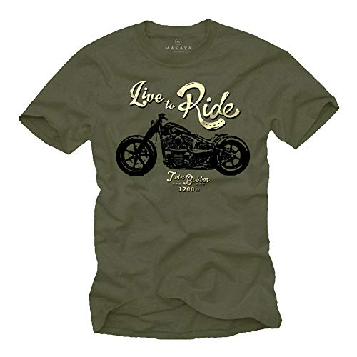 MAKAYA Ropa Moto Hombre - Camiseta con Mensaje Life TO Ride - Verde S