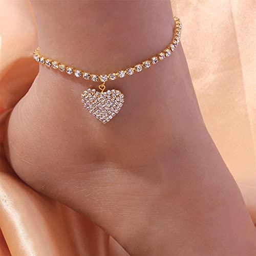 GLJYG Tobillera de estrás con colgante de corazón, pulsera brillante, cadena ajustable, pulsera para mujer, color dorado