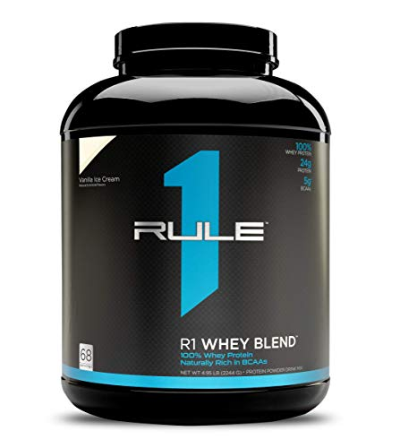 Rule One Proteins, R1 Whey Blend - Vanilla Ice Cream, 24g Fast-Acting Whey Protein Concentrates, Isolates, and Hydrolysates Per Serving, With Naturally Occurring EAAs and BCAAs, 5 Pounds, 68 Servings