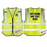 Texto personalizado amarillo transpirable malla Salzmann 3M alta visibilidad chaleco de seguridad multi teléfono ID bolsillo alta visibilidad chaleco 3M cinta reflectante