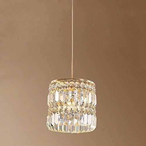 DIAODTIA Vintage Runde Kristall Pendelleuchte Antik Einfach Hängelampe Esstischleuchte Kupfer Gang Lampe Esszimmer Höheverstellbar Gold 1* E14 Ø20* H30 cm