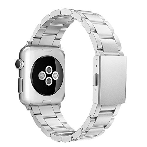 Simpeak Cinturino Compatibile per Apple Watch 42mm 44mm in Acciaio Inossidabile,Fibbia di Metallo Compatibile con Apple Watch 42mm di Series 1/2/3/4/5 Versione 2015 2016 2017 2018,Argento