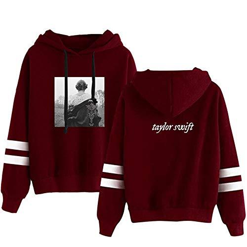 AOSHE El Nuevo álbum de Taylor Swift con Las mismas Costuras periféricas Sudadera con Capucha Informal Blanca Suelta con Capucha-rojo3_XX-Grande
