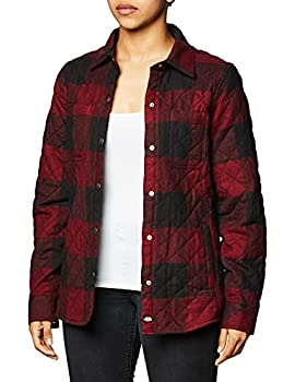 Dickies Women s Quilted Flannel Shirt Jacket Black/Red Heather Buffalo Large