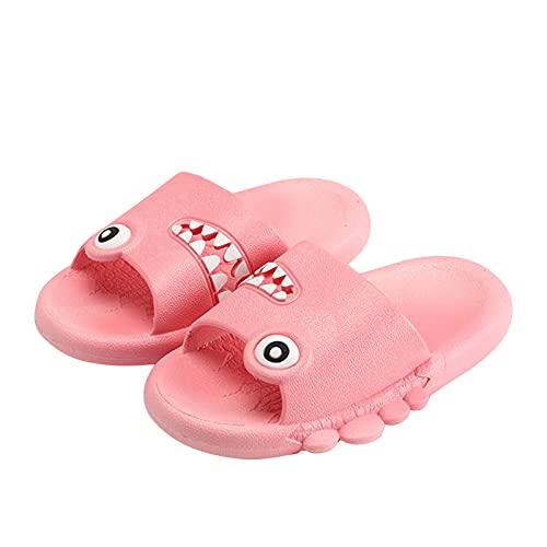 Pantofole estive per bambini e bambine, scarpe da spiaggia antiscivolo, motivo cartone animato, con fondo morbido, traspiranti, per bambini, Colore: rosso, 27