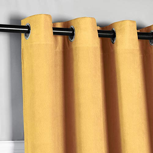 PimpamTex – Cortina Opaca Térmica Aislante con Tacto Ante, 140x260 cm, con 8 Ojales para Salón, Dormitorio y Habitación, Cortinas Opacas Modelo Ante – (Mostaza, 1)