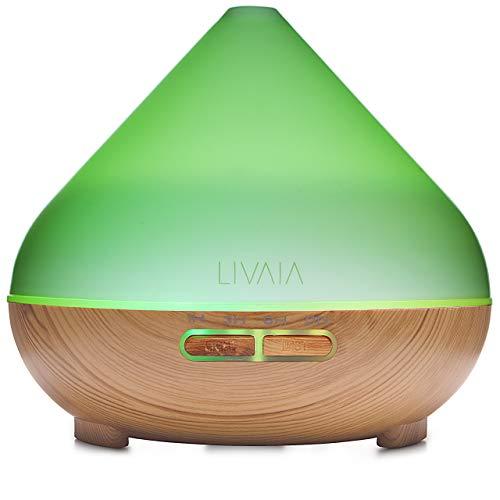 Aroma Diffuser 500ml: Leiser Aroma Öl Diffuser mit LED Licht - XXL Luftbefeuchter Ultraschall Vernebler in edler Holz Optik, elektrischer Duftspender, Lufterfrischer Wohnung - Duft Diffuser LIVAIA