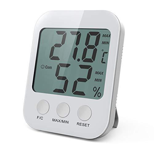 ORIA Digital Innen Thermometer, Temperatur Luftfeuchtigkeit Messgerät Monitor mit LCD Bildschirm, Min/Max Aufzeichnungen, ℃/℉ Schalter, Komfortanzeigen, Ideal für Babyraum, Wohnzimmer, Büro - Weiß