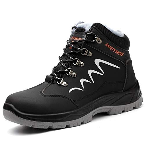 AFFINEST Zapatos de seguridad para hombre y mujer S3, con forro cálido, zapatos de trabajo, con puntera de acero, impermeables, antideslizantes, botas de trabajo, color, talla 38 EU