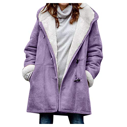 L9WEI Damen Mantel Tops Women Solide Coat Fleece Kapuzenjacke üBerdimensionale Parka Outwear Tops ReißVerschluss mit Flauschigen Fell Kardigans Mit Tasche
