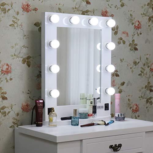 LUVODI Miroir Maquillage lumineux pour Coiffeuse Grand Miroir de Table Hollywood 10 LED Intensité Réglable Miroir Mural Cadre en Bois et Base Amovible Design Artistique 50 x 66cm Blanc