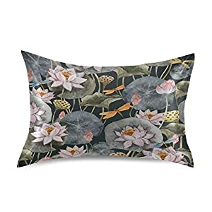 YKMustwin Satin Pillowcase for Hair and Skin Silk Pillowcase Queen Size Vintage Flower Lotus Animal Dragonfly Pillow Cases Cooling Satin Pillow Covers with Envelope Closure