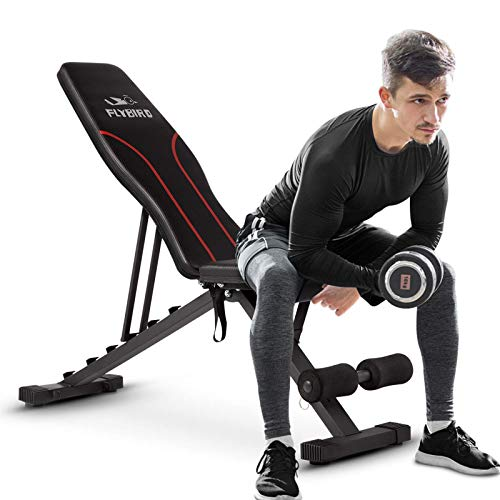 FLYBIRD Adjustable Weight Bench,Workout Bench for Home Gym, Strength Training Benches for Full Body Workout, Multi-Purpose Foldable Incline Decline Bench