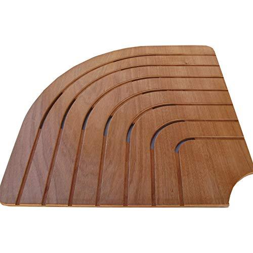 Onlywood Pedana doccia angolare legno marino okumé lato cm 74 per piatti lato 90 cm
