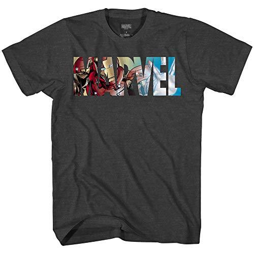Marvel Logo Ironman Iron Man Avengers Super Hero Adult Graphic Men's T-Shirt (Charcoal Heather, Medium)
