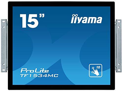 iiyama Prolite TF1534MC-B6X 38 cm (15 Zoll) LED-Monitor XGA Open Frame 10 Punkt Multitouch kapazitiv (VGA, HDMI, DisplayPort, USB für Touch, IP65, Glare) schwarz