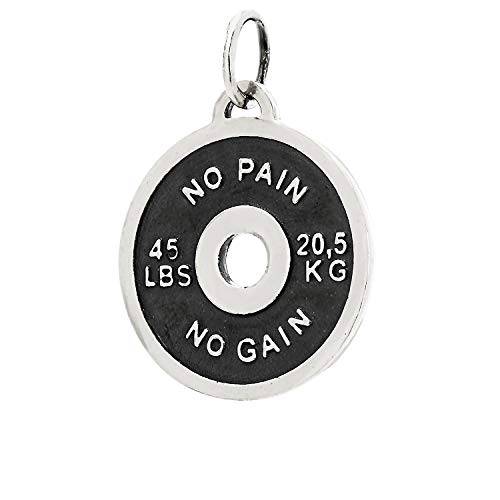 NKlaus 925 Ciondolo in argento sterling 3D Weight Plate Ø 28mm Motif Amulet Ciondolo fitness in argento 7501