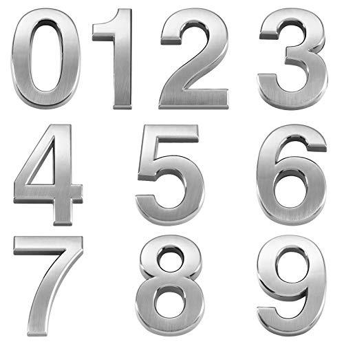 VOSAREA 10pcs Numéro de métal stéréoscopique Numéro de Plaque Moderne Maison Adresse de l'hôtel Hôtel Chiffres Plaque d'autocollant Signe (0-9, Un pour Chaque numéro) (silver)