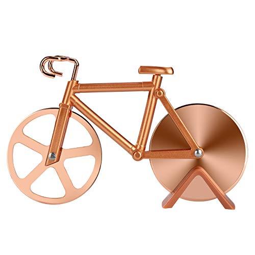 Fahrrad Pizzaschneider, Edelstahl Antihaftbeschichteter Pizza Schneider Pizzaroller mit Schneiderad und Ständer, Ideale Geschenke für Fahrrad und Pizzaliebhaber