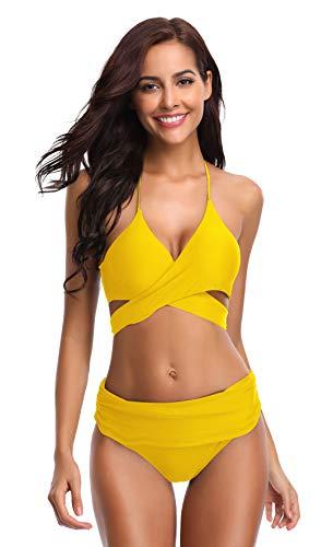 SHEKINI Women's Push-up Halter Bandage Bikini Swimsuits Ruched Swim Bottoms (Medium, Lily...