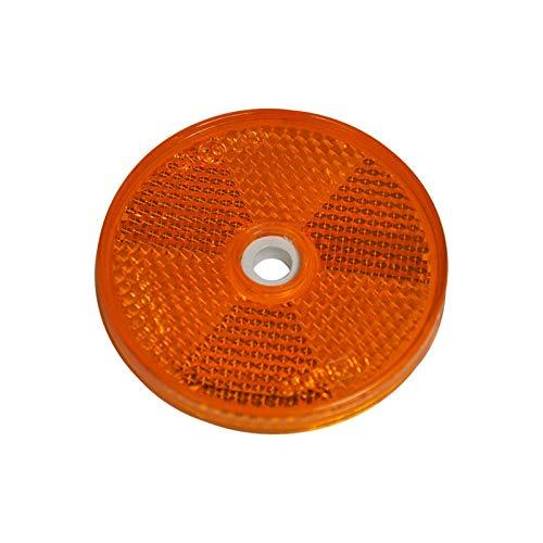 mb-m 904305 10er Set Rückstrahler, Seitenstrahler, Reflektor Rund 60mm gelb zum Schrauben mit E-Prüfzeichen für Anhänger Pritsche Links rechts Katzenauge orange