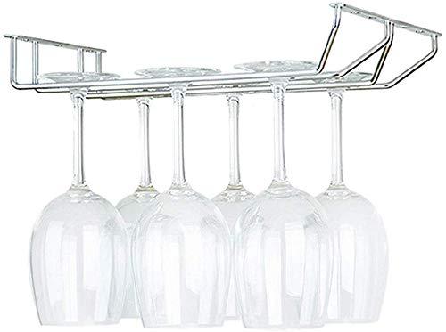 Portabottiglie da vino, 2 file in metallo sotto il mobile Porta-bicchieri Portabottiglie Portabottiglie da vino in acciaio inossidabile Appesi bicchieri da vino Conservazione Bar da cucina Organizzat