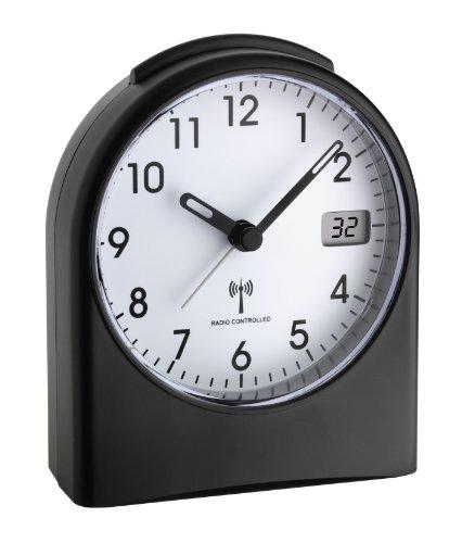 TFA Dostmann Analoger Funk-Wecker,98.1040.01, mit digitaler Sekundenanzeige, Funkuhr, mit Hintergrundbeleuchtung, schwarz/weiß, Kunststoff, Schwarzweiß, L105 x B64 x H152 mm