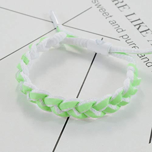 Pulsera tejida, luminosa fluorescente, con cordón de cielo estrellado, ajustable, hecha a mano, pulseras de cuerda verde, ligeras, para parejas, amigos, el mejor regalo para hombres y mujeres